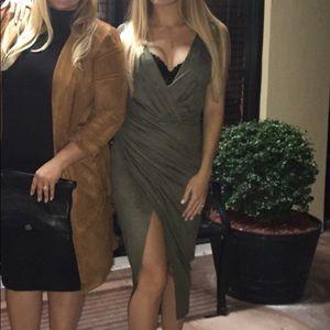 Olive velvet dress